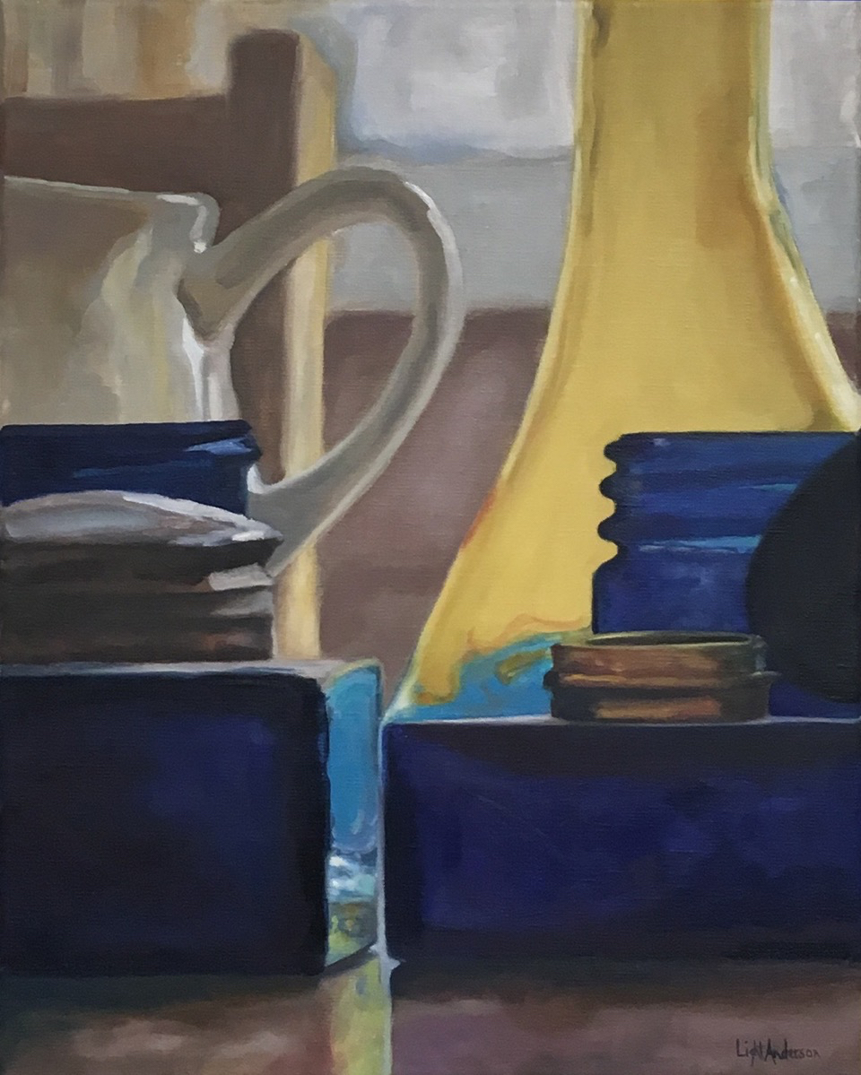 White Creamer, Blue and Yellow