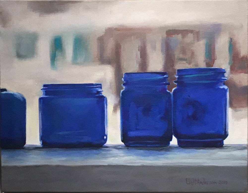 Blue Jars on Railing