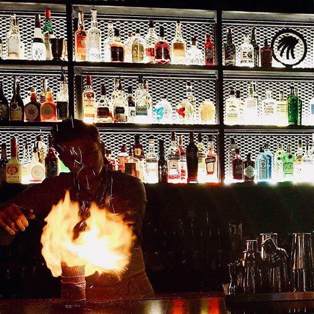 The hottest cocktail in town, Pachinko Punch🔥  #firecocktail #hot #fire #pachinkopunch #pearpuree #jasmintealiquor #applejuice #spicyrum #limejuice #sasaleaf #musu_niseko #frenchbistro #frenchbar #frenchbartender #nightinniseko #niseko #hirafu #kanpai #santé #cheers