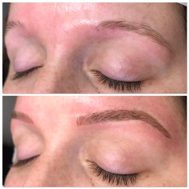 How long does the healing process take? - It is completely normal to have tenderness and swelling immediately after or a few days after microblading.  The strokes will appear sharper and darker the first few days and then they will soften and lighten up as the skin heals.  For a period of 10 days following the microblading, Aquafor is recommended to be worn on your brows.  Your brows must be kept dry and clean for the 10 day period.  No sweating, touching, picking at or wearing makeup on your brows.  After 10 days, you may notice the pigment fading in and out of color as the skin continues to heal.  At 4 weeks, you will see your healed results.  Between 4-6 weeks, you will come in for a complimentary perfecting session to fill in any areas that have faded.
