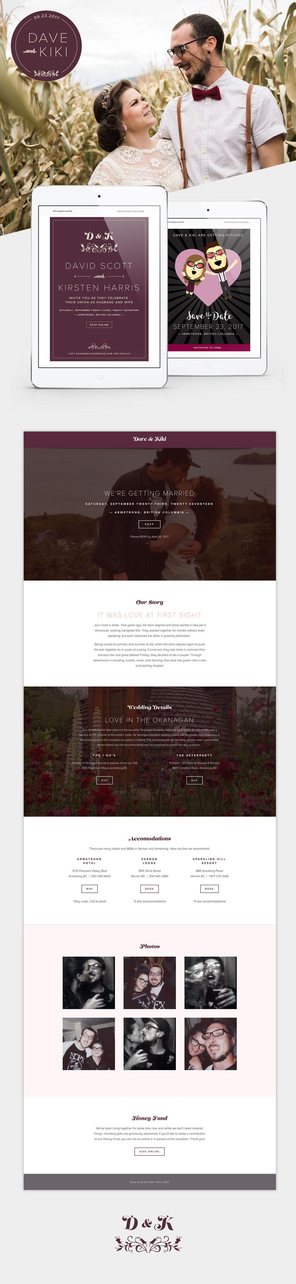 Website, save the date, stamp and e-vite design by Vancouver graphic designer, Jennifer Miranda Grigor //  jennifer-miranda.com