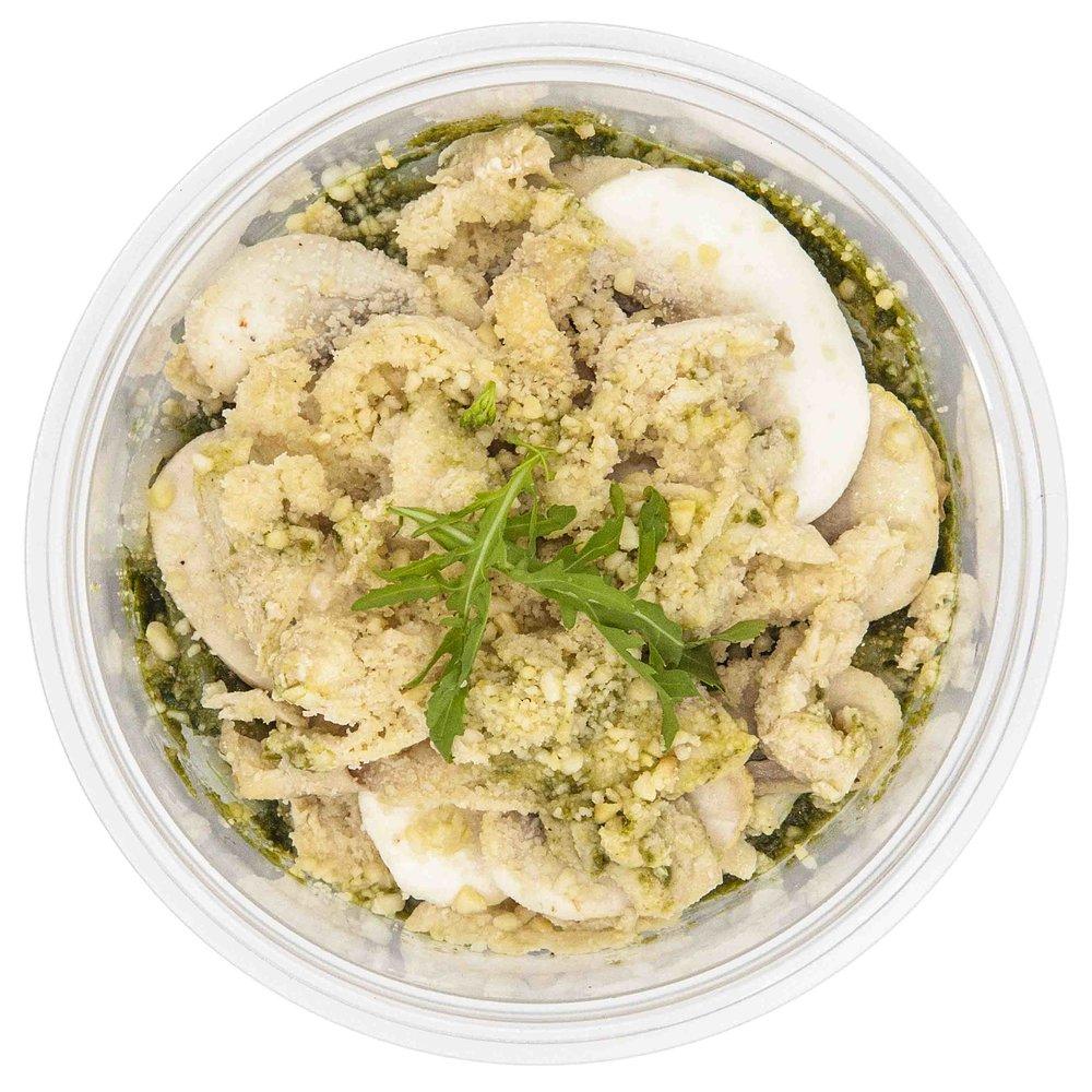 Chicken & Mushroom Pesto Yoodles - 453 KCAL PER SERVINGINGREDIENTS: Yam noodles, pesto sauce, shredded chicken breast, button mushrooms, vegan parmesan cheese.$50