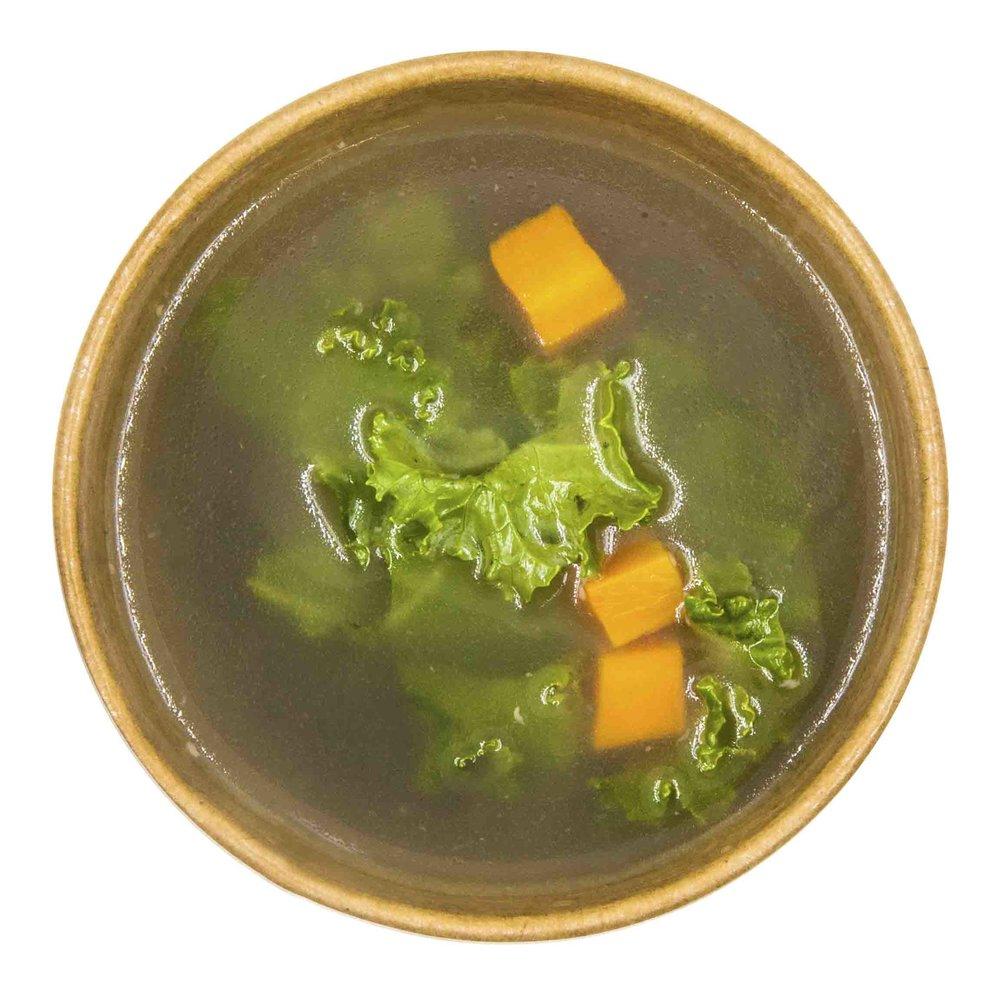 BONE BROTH SOUP215 KCAL PER SERVINGINGREDIENTS: pork bone, carrot, celery, onion(white), Garlic, fresh thyme, leeks, veg stock, salt and pepper -