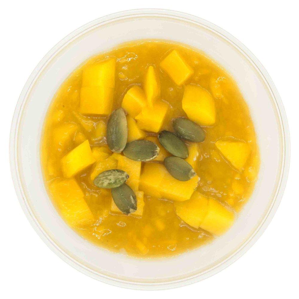 MANGO CHIA PUDDING181 KCAL PER SERVINGINGREDIENTS: cashew mylk, mango and chia seeds -
