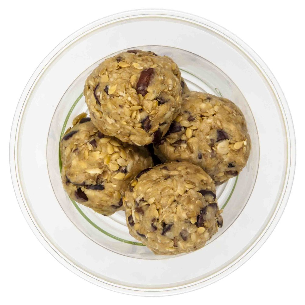 Energy Bites - 63 KCAL PER SERVINGINGREDIENTS: Peanut butter, rolled oats, flax seeds, chocolate nibs.$25