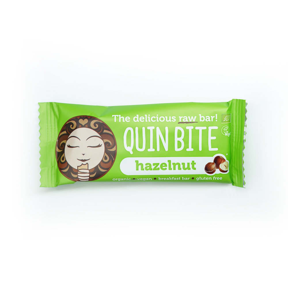 QUIN BITE HAZELNUT - 124 KCAL PER 30gINGREDIENTS: Dates, Cashew, Hazelnut 13%, Raw Chocolate Chips (Cocoa Mass, Coconut Sugar, Cacao Butter), Cacao Powder.$28