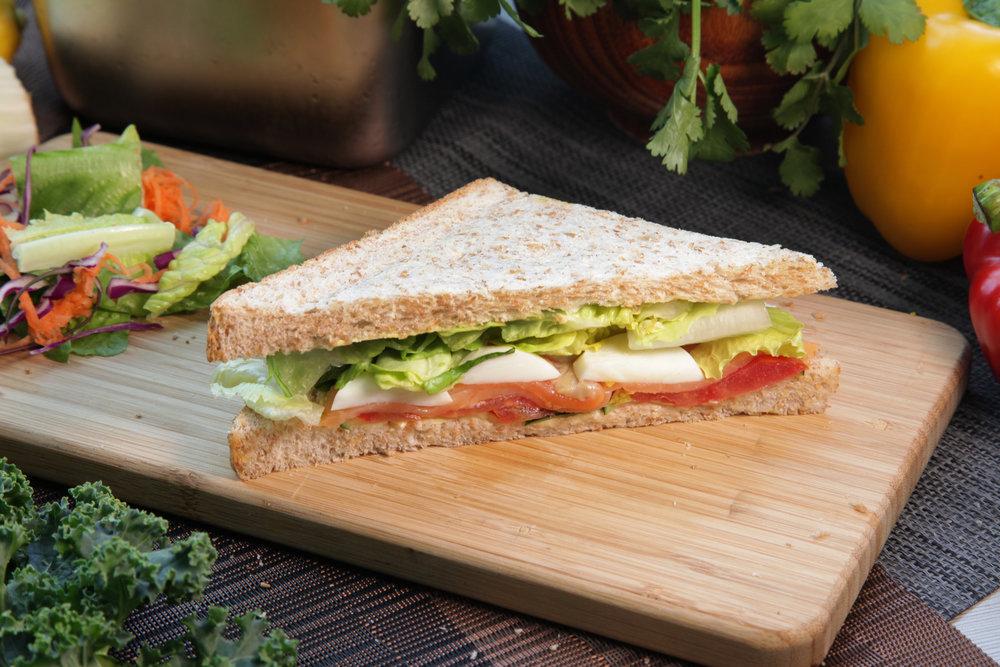 SMOKED SALMON SANDWICH - 208.18 KCAL PER SERVINGSmoked Salmon, Tomato, Cucumber, Egg, Lettuce Butter, Whole Wheat Bread.$28/Single
