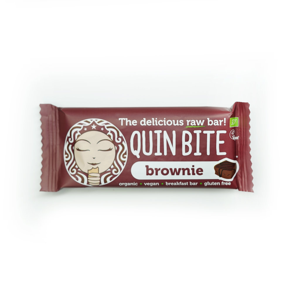 QUIN BITE BROWNIE - 134 KCAL PER 30gINGREDIENTS: Dates, Cashew, Raw Chocolate Chips (Cocoa Mass, Coconut Sugar, Cacao Butter), Cacao Butter, Cacao Powder.$28
