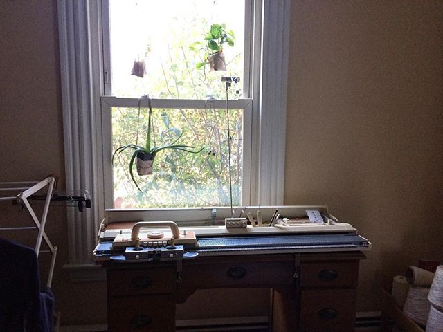 Love my new knitting machine table from goodwill! And my plant guardians🌿🕊. . Feeling so comfortable and happy in my new creating space.  Can't wait to make you pants, shirts, and dresses on this friend! Sneak peek of designs coming soon!! . . #knittingmachine #machineknitting #artist #knitting #sunlight #plants #window #naturallight