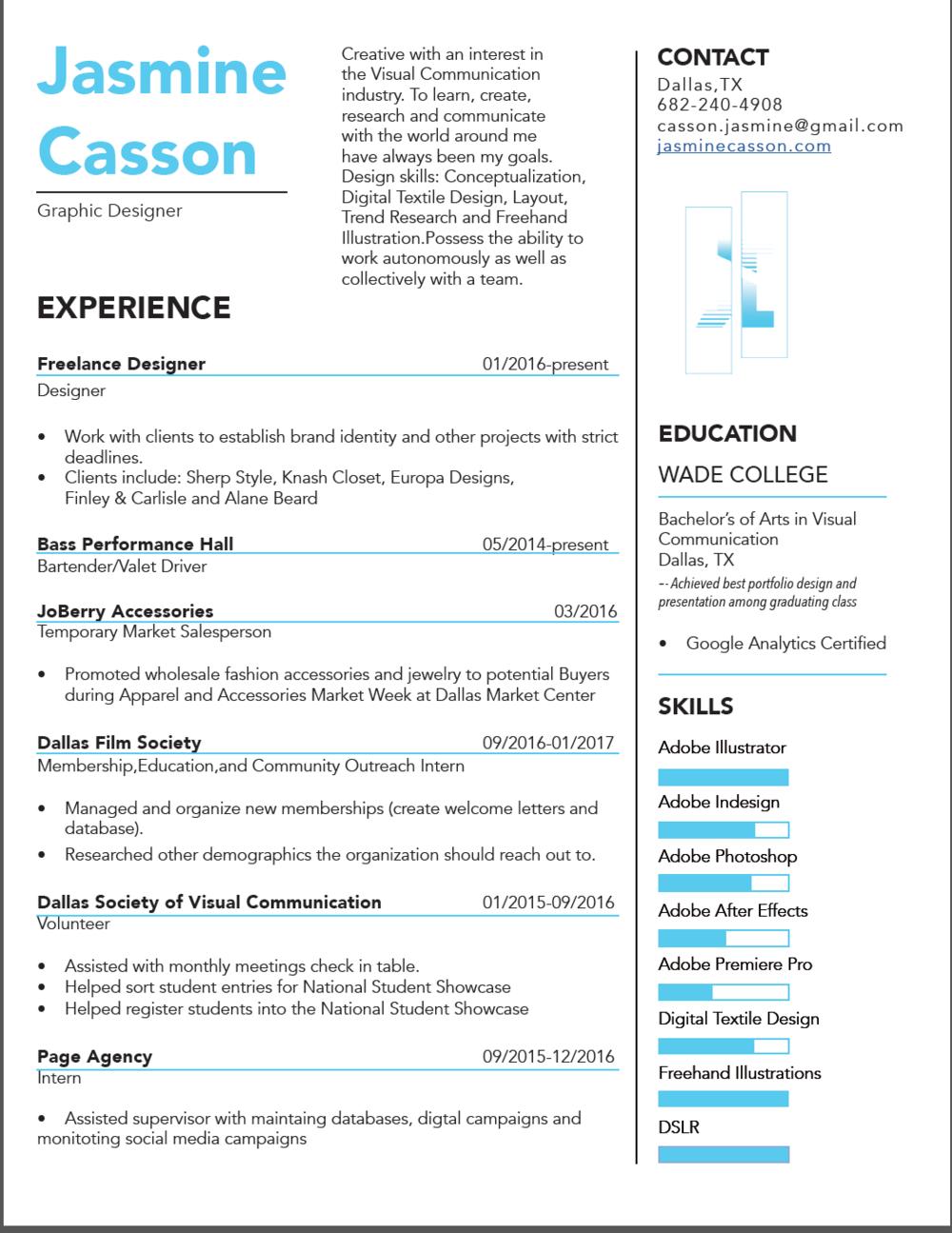 Layout Resume Jasmine Casson
