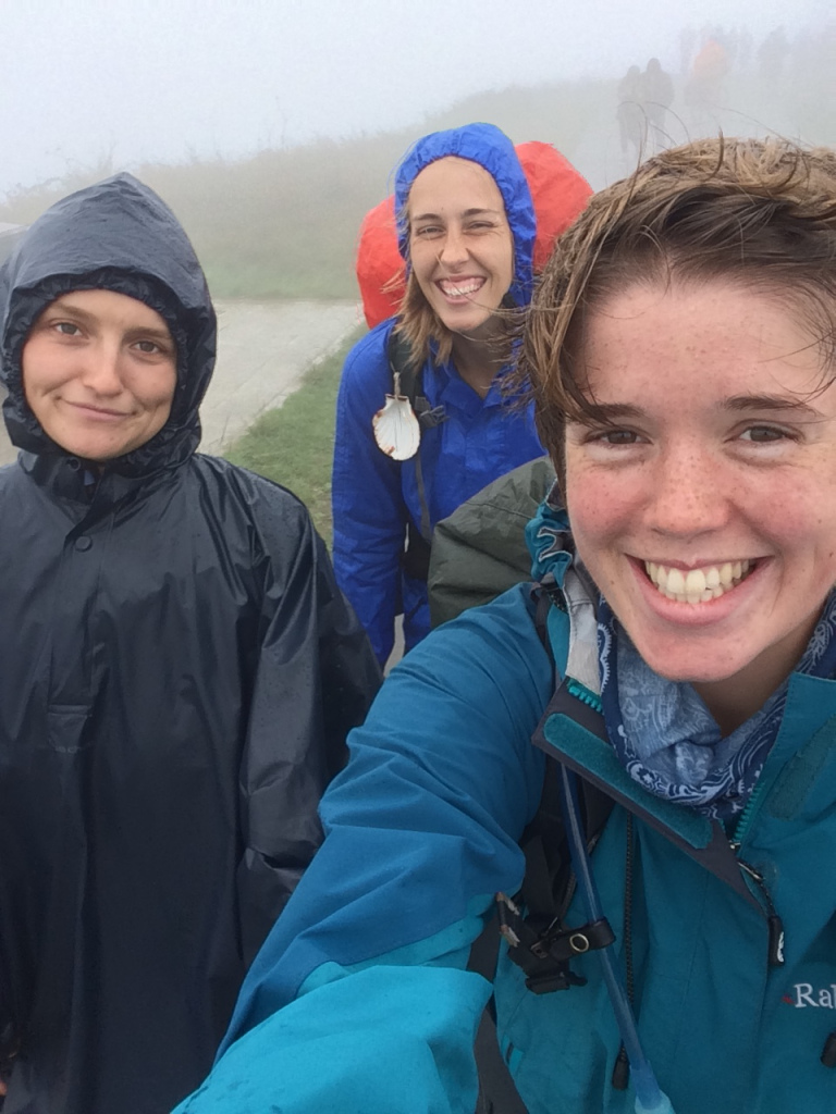 Embracing the weather with my walking pals Hannah and Bianca!