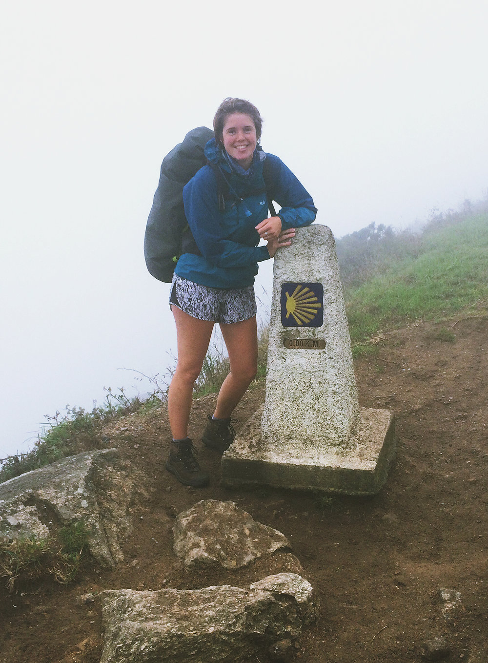 0.0km: The final distance marker at Finisterre, the end of the world.