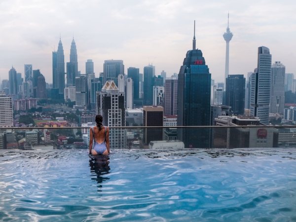 Pool with a view: Larissa in Kuala Lumpur
