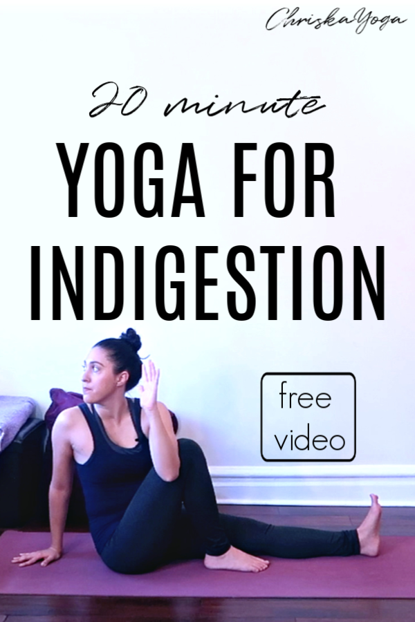 20 min yoga for indigestion, bloating, gas, feeling full, over eating - yoga with twists - chriskayoga