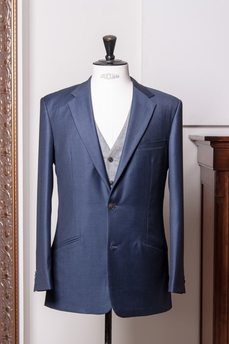 Teal blue suit fresco - gray twist solid waistcoat 120's italian suiting