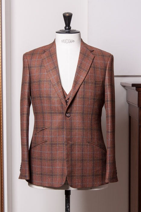 Windowpane plaid burnt orange suit Sherry Kash Holland Sherry
