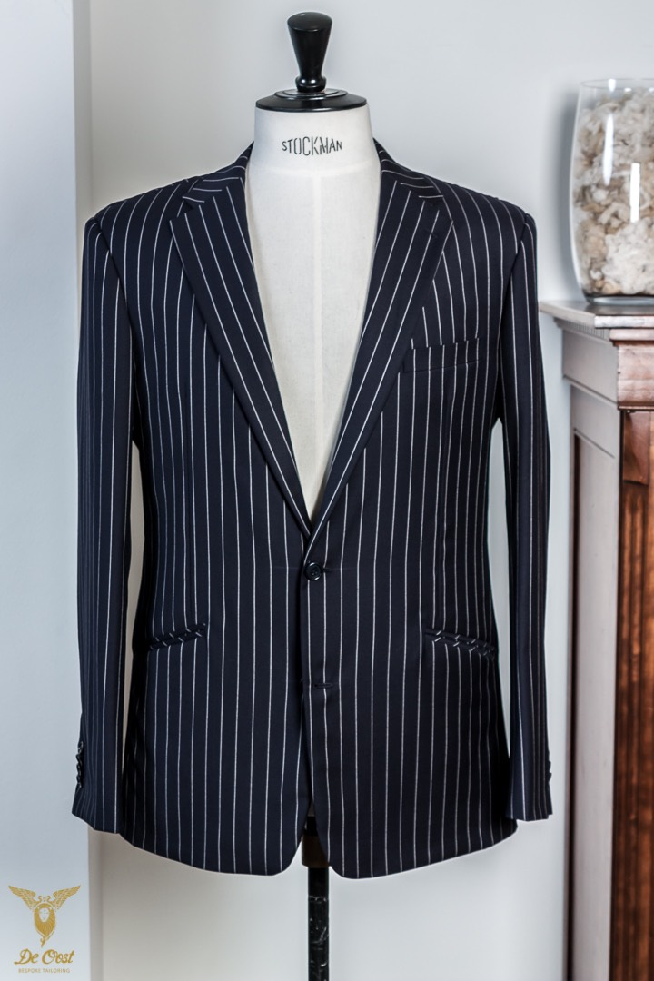 - Navy Chalk StripeSuit Lightweight Super 120's Huddersfield Worsted