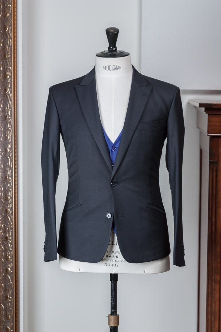 - Dark navy blue diamond weave suit & azure vest