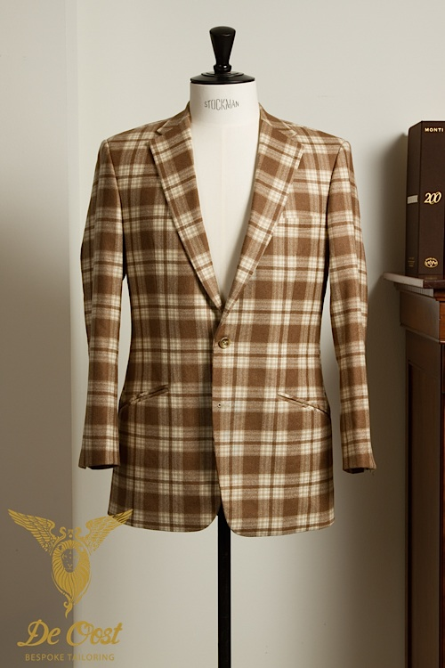 - Blazer Jacket men 2-button Fawn Tartan Plaid Tobacco Heavy Weight Vintage Wool