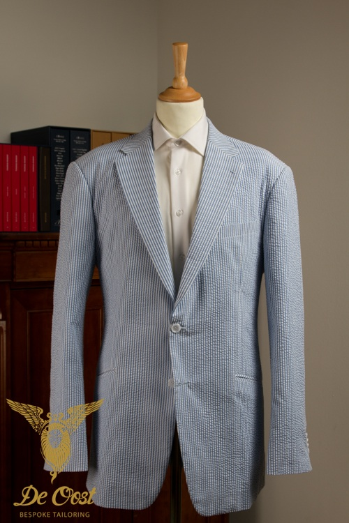 - Seersucker Cotton Bespoke Suit White Blue
