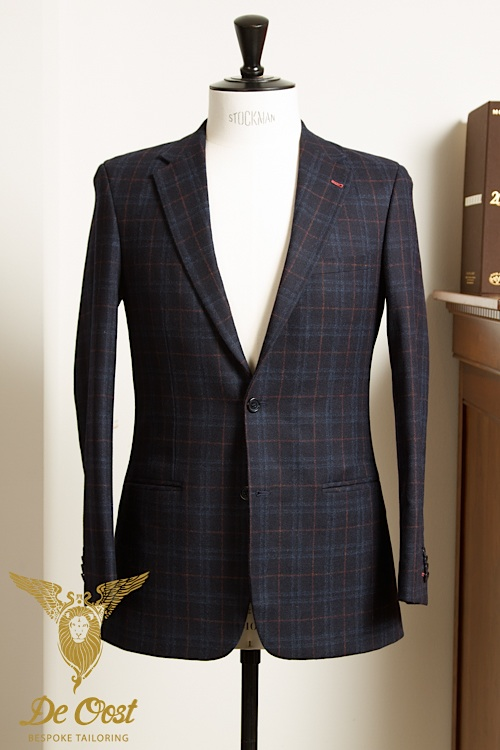 - Jacket 2-button Wool Cashmere Navy Windowpane Plaid Rust Decoration Holland Sherry