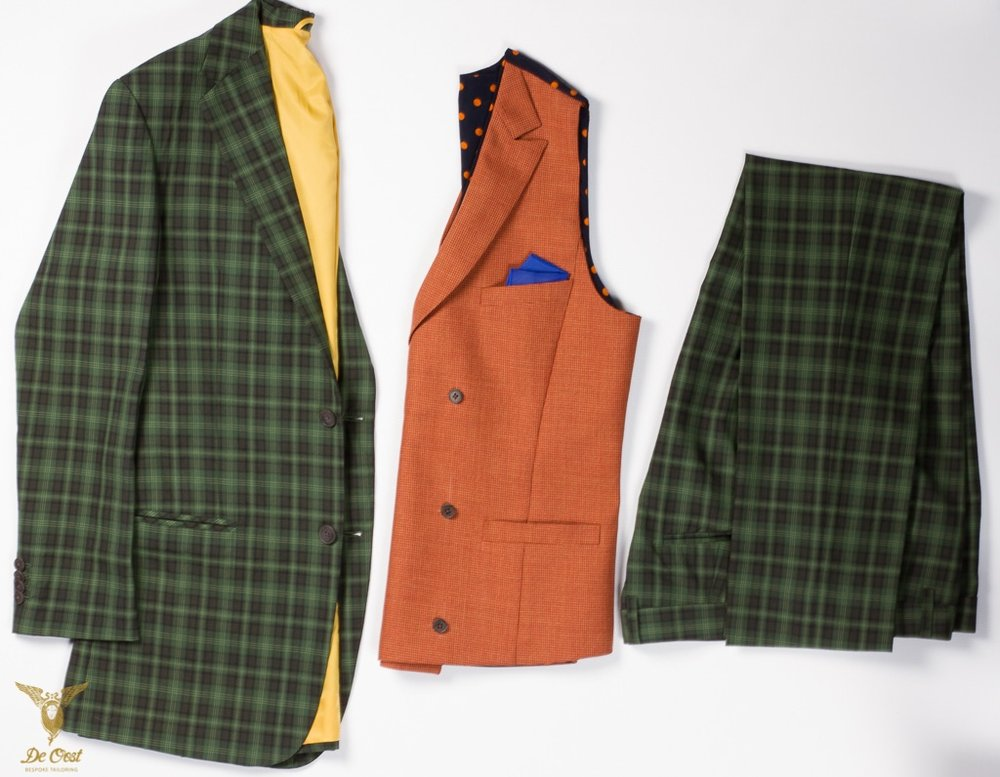 - Green Suit multi windowpane plaid with a doublebreasted terracotta puppytooth waistcoat