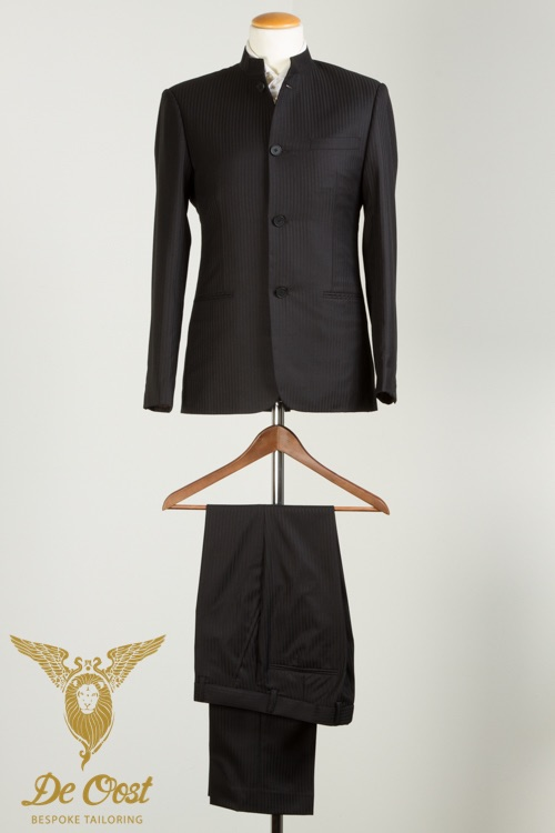 - Nehru Jacket - Suit Black Herringbone wool for Muscians Orchestra Conductors