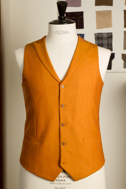 - Vest Gilet Waistcoat Men Super 120s Wool Saffron Bespoke Tailor