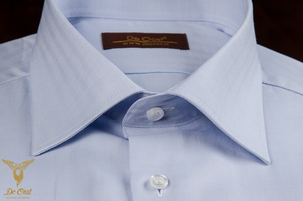 Blue Herringbone Dress Shirt With Double Cuffs