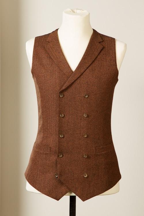 6954+-+Waistcoat+Vest+Gilet+tailor+made+Rust+Herringbone+38+inch+(13).jpg