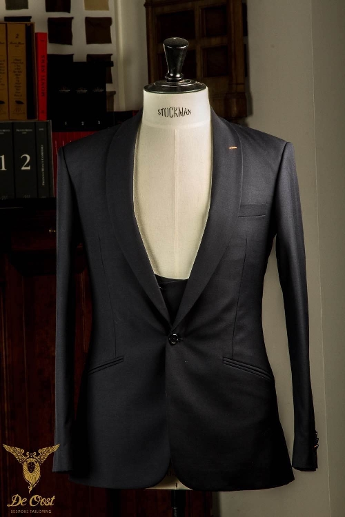 Not a colonial coloured Gabardine, but a very modern shawl collar navy blue Gabardine suit.
