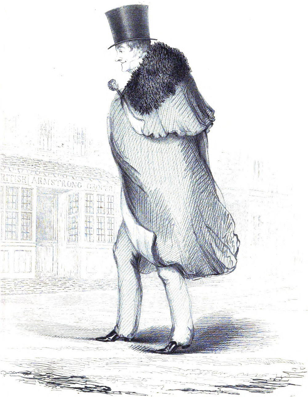 George Bryan Brummell, also known as Beau Brummell, in his later years, wearing full length trousers.