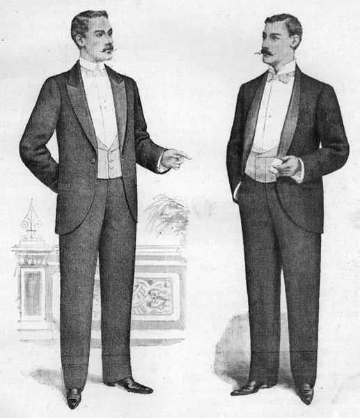 Gentlemen with dinner jackets and lowcut waistcoats in 1898.