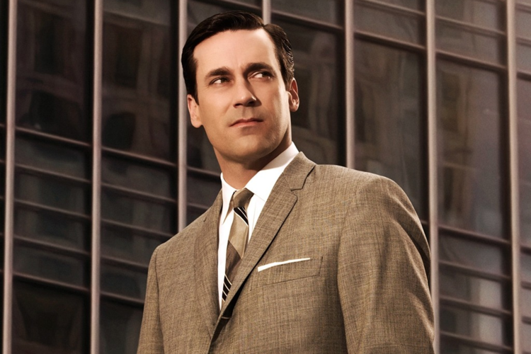 Jon Hamm as Don Draper in Mad Men wearing a classic white shirt