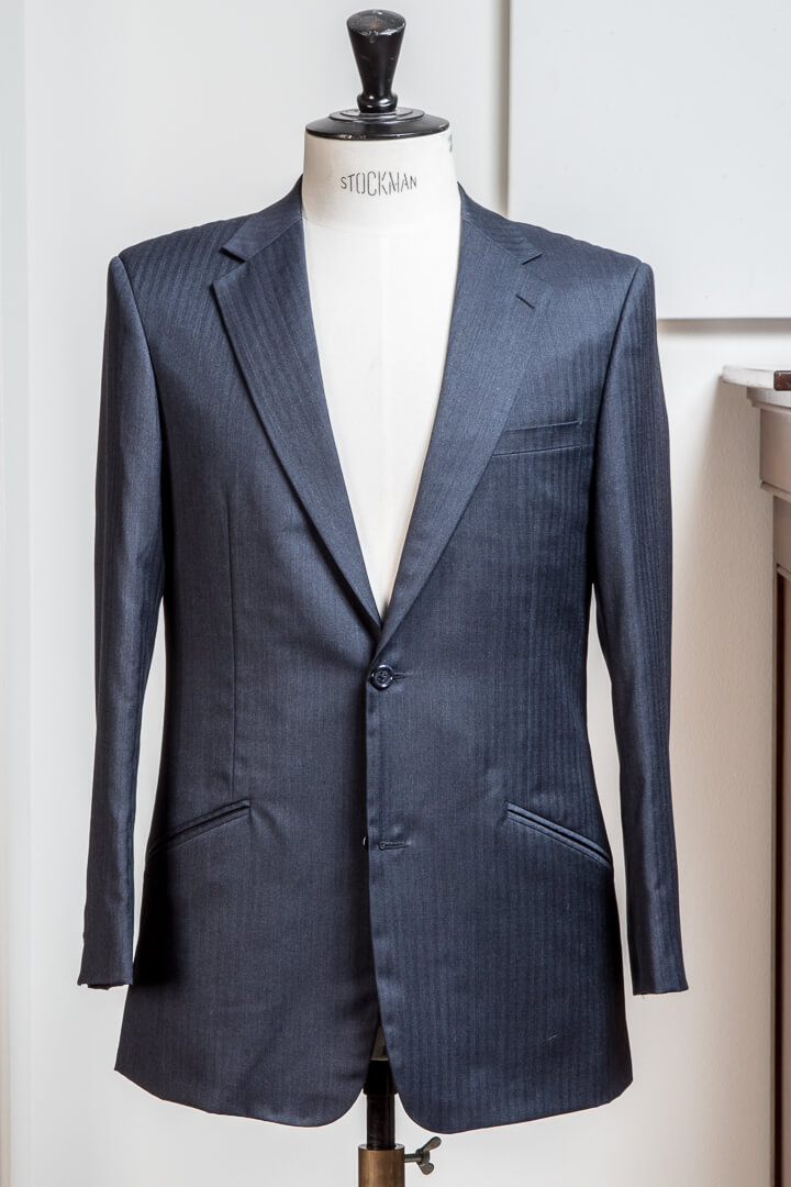 - Super 120s Herringbone Grey Work Suit Hudderlsfield Worsted Chelsea
