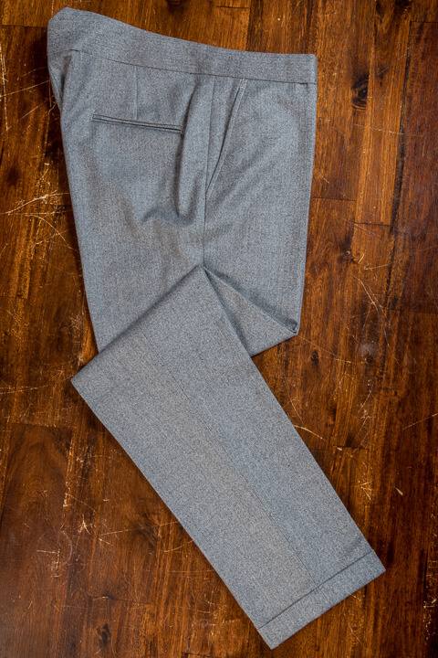 - Light Grey Wool Herringbone Flanel Trousers