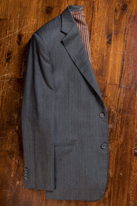- Charcoal Herringbone Bespoke Suit Classic Work Suit 2 Button Holland&Sherry