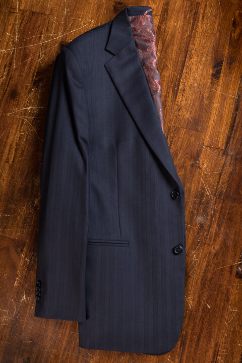 - Midnight Blue Herringbone Bespoke Suit Classic Work Suit 2 Button Holland&Sherry