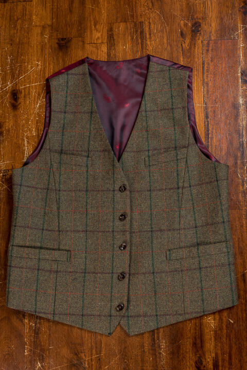 - Hand Made Checked Tweed Waistcoat
