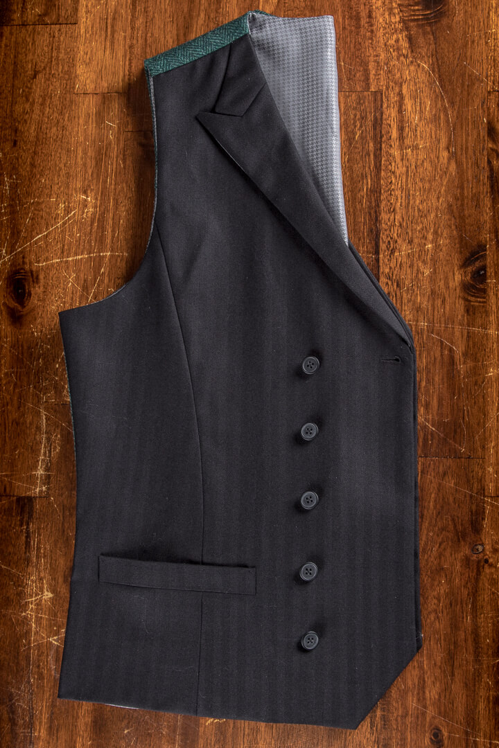 - Black Herringbone Waistcoat With Tweed Back Dark Green Peak Lapel Full Canvas