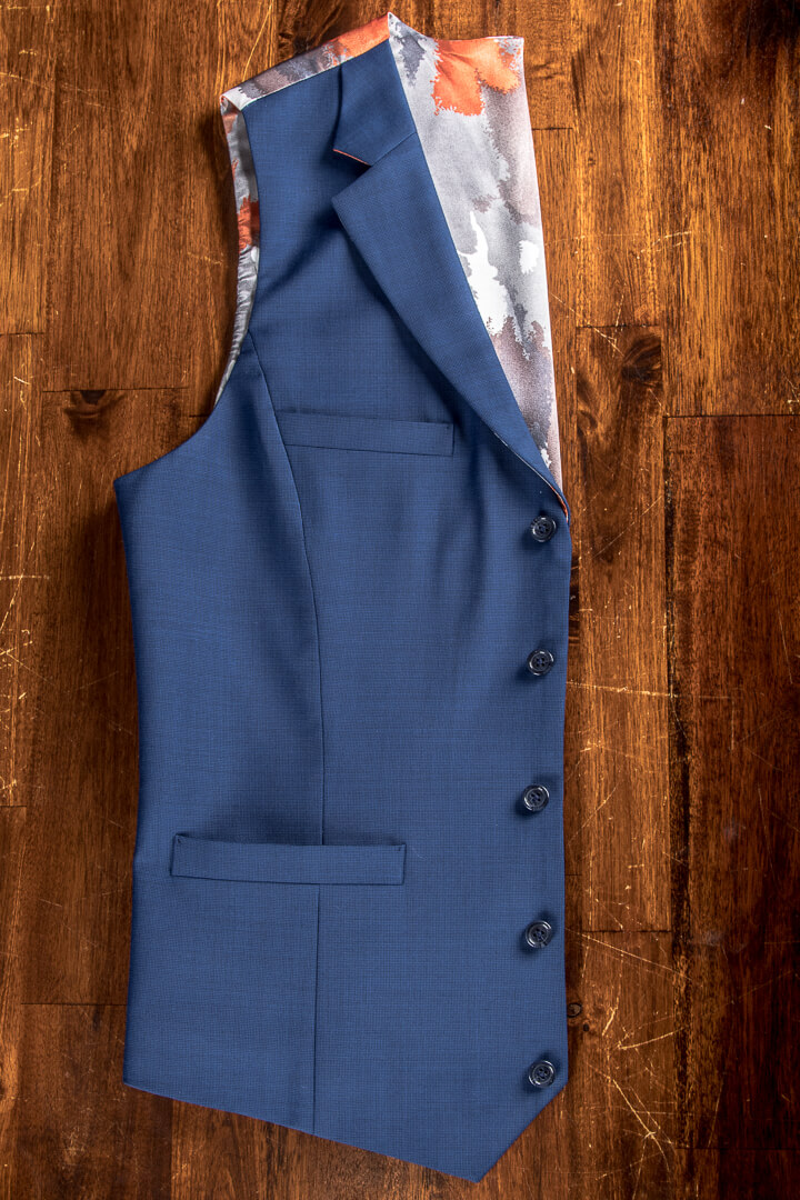 - Bespoke Blue Pinhead Waistcoat With Koi Carp Lining Notch Lapel And Breast Pocket
