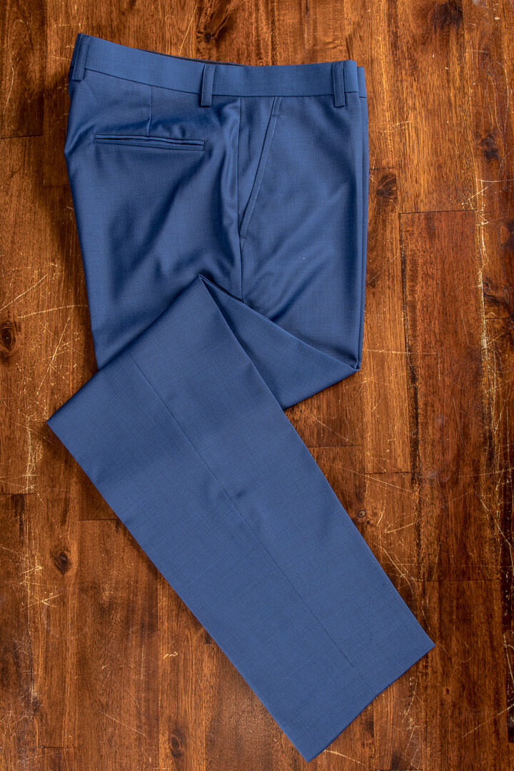 - Hand Made Blue Pinhead Bespoke Trousers