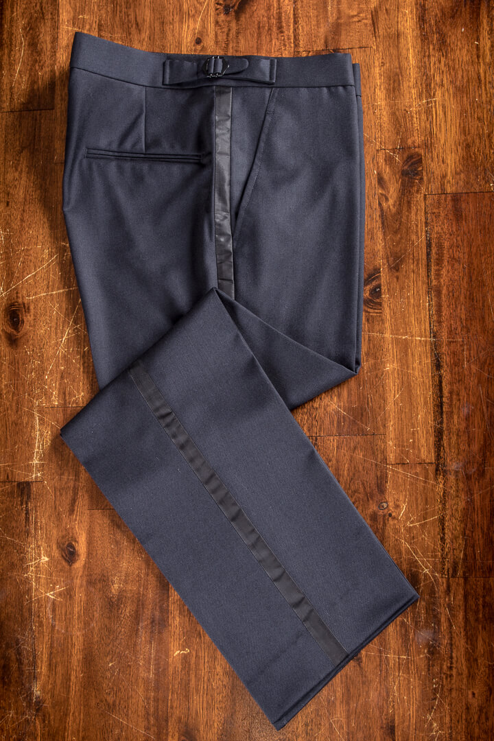 - Tuxedo Smoking Trousers Bespoke Midnight Dark Navy Blue With Black Facing Holland & Sherry 340grm