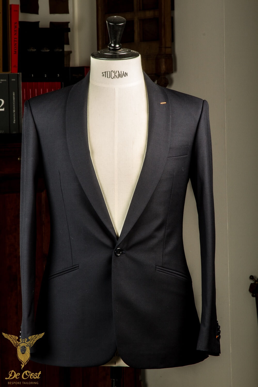 - Bespoke Hand Made 1 Button Modern Blue Suit With Shawl Collar Welted Pockets And Double Breasted Waistcoat