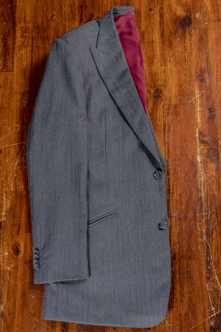 - Bespoke Suit For Work Dark Grey Herringbone Worsted Wool Cashmere