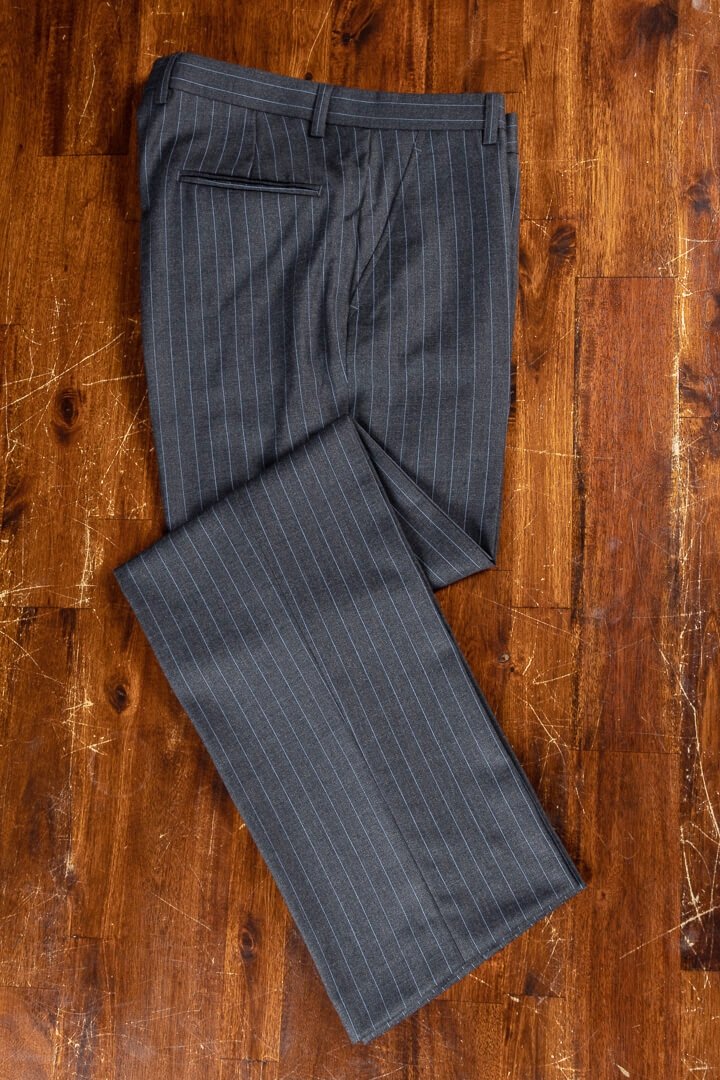 - Bespoke Trousers For Work Charcoal Slate Blue Pin Stripe Intercity Holland & Sherry