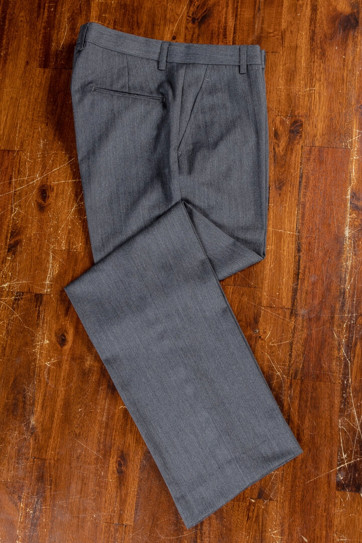 - Bespoke Trousers For Work Dark Grey Herringbone Worsted Wool Cashmere