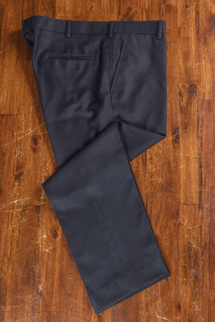 - Black Solid Flannel Trousers Supreme Victory Holland&Sherry