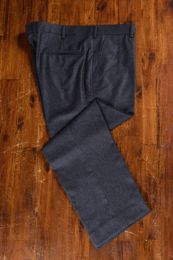- Dark Grey Solid Flannel Trousers Supreme Victory Holland & Sherry
