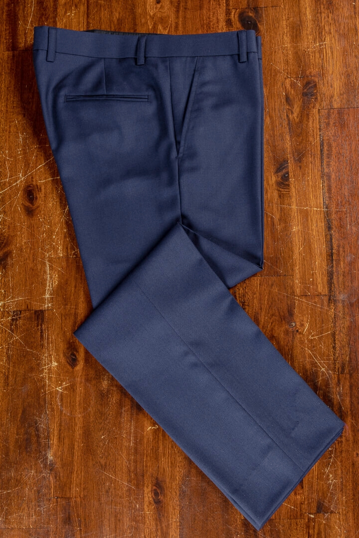 - Navy Solid Worsted Wool Classic Trousers For Work